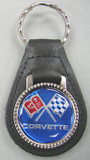 Blue C3 Corvette Crossed Flags Black Leather C 3 Chrome Keyring 1971 1972 1973