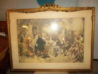 Antique Print Vintcente v de Paredes Royal Visitors in Watteaus Studio Rococo