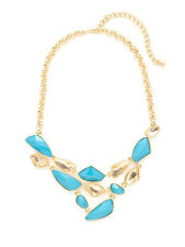 Kenneth Jay Lane Geometric Turquoise & Clear Resin Bib Necklace 22K Gold plated