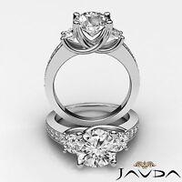3 Stone Round Cut Diamond Ideal Engagement Ring GIA F VS2 14k White Gold 1.8 ct