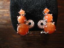 reizvolle moderne Ohrringe Stecker Ohrstecker 925er Silber Sonnenstein orange