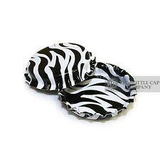 100 Zebra Print ON BOTH SIDES Bottle Caps New Unused Bottlecaps Cap Sided Color