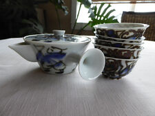 Japanese Small Blue & White Porcelain Tea pot Set, Kyusu