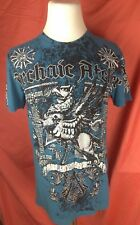 Archaic Affliction Griffin Distressed T Shirt Size Large Dark Blue Dark Grey USA