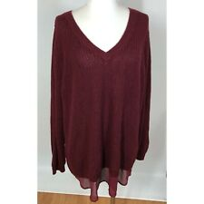 Torrid Sweater Size 3 Lace Up Back Detail Chiffon Trim Burgundy Red Knit