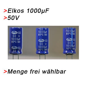 ELKO Kondensatoren 1000 µF 50V (BIS 50V) Elkos Elektrolytkondensator 1000µF uF