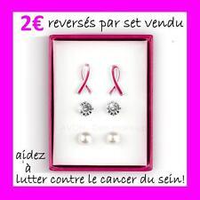 SET DE BOUCLES D'OREILLES espérance AVON pour lutter contre le cancer du sein!