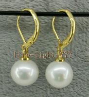 AAA 10-11mm white south sea pearl earrings 14k gold new dangle pearl Earrings