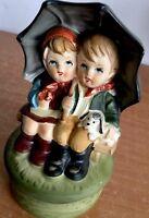 SANKYO TILSO ceramic Vintage Japan Music Kids Under Umbrella