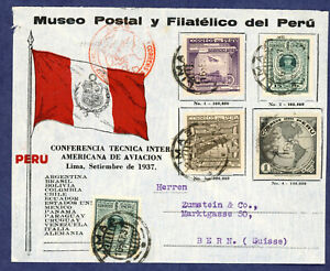 Peru 1937 Aviation Conference Commemorative Cover- Lima to Switzerland C45-C48