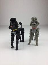 2 alte Schleich Werbefiguren Pudel Hund Walther Biegefigur flexibel W. Germany