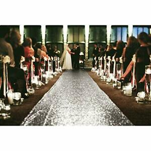 Runner for The Bride Wedding Aisle Runners Adhesive Weights 4FTX10FT Silver