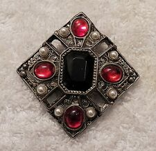 Classic Pin Brooch Rectangular Design Silver Tone Red Costume Stones Faux Ch-11