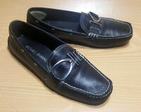 "MICHAEL SHANNON LOAFERS 6 M ""DANITA"" MOC TOE BLACK LEATHER SLIP ON SHOES"