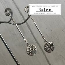 CUTE Dangly Tree of Life Drop 925 silver hook Earrings Wicca Pagan Witch Druid