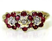 Ruby & Diamond Trilogy Cluster 9ct Yellow Gold ring size N ~ 6 3/4