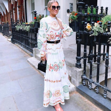 ZARA SS2020 OYSTER WHITE EMBROIDERED LONG DRESS SIZE XS_S