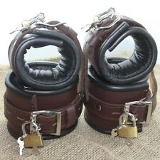 Padded Brown Real Leather Wrist Ankle Cuffs 4 Pieces Set Restraints Lockable