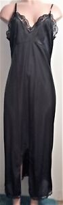 """VTG BEWITCHING BLACK NYLON & LACE  50"""" LONG FULL SLIP WITH 15"""" FRONT SLIT 38"""