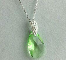 En Argent Sterling 925 Cristal Vert Pendentif avec Chaîne Argent Massif