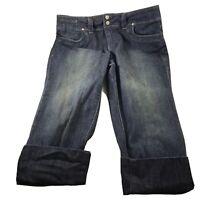 Elle Womens size 10 Capris Stretch Denim Blue Jeans Dark Wash Wide Cuffs Pockets