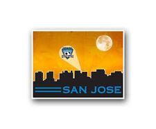 "San Jose Earthquakes Poster City Skyline Art Print Man Cave Decor 12x16"""
