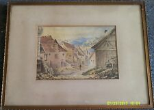 Framed Antique Watercolour Signed Carl Noritz 1893. Village Scene