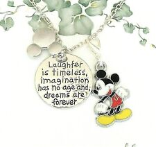 """New listing Mickey Mouse clip on charm Pendant Necklace """"Laughter is Timeless"""" handmade"""