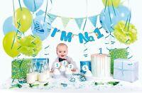 1st Birthday Decoration BOY Blue 42 pcs Party Set Balloon Banner Bunting