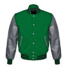 Green Wool Grey Real Leather Sleeves Letterman College Baseball Varsity Jacket