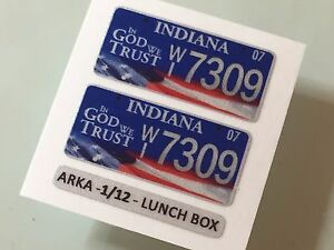 1/12 LUNCHBOX AMERICAN reflective stickers NUMBER PLATES 1pair - all US states
