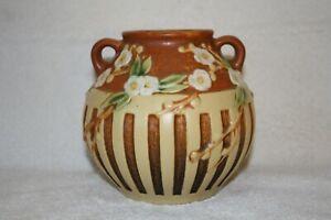 """Roseville Cherry Blossom, 619-5"""" Terra Cotta Brown Vase"""