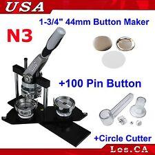"Pro N3 1-3/4"" 44mm Kit Badge Button Maker 100 Pin Badge Plastic Circle Cutter"