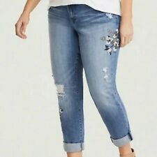 Torrid Denim Boyfriend Sz 18XS Distressed Floral Embroidered Stretch Jeans