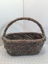 Vintage Small Folk Primitive Ice Sparkle Pellet Twig Stick Handle Basket
