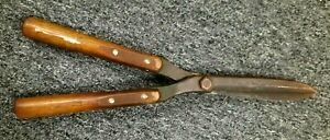 Antique Wood Handle Riveted  Large Hedge Trimmers Garden Pruning Shears