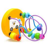 Wooden Puzzle Circle Bead Maze Roller Coaster Kids Childs Educational Count Toy