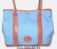 Dooney & Bourke Dusty Blue Layla Nylon Tote Bag Saddle Leather Trim NWT $228