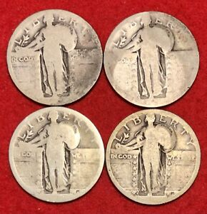 (4) Standing Liberty Quarters 90% Silver $1 Face Value FV No Date 25C- 2 with MM