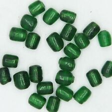 Glass Beads Green Transparent Drum 6mm. Pack of 25. Made in India.