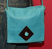 Vtg Teal Green Textured Leather Flap Turquoise Stone Crossbody Shoulder Purse