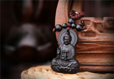 Ebony Wood Carving Chinese Kwan Guan Yin Statue Sculpture Pendant Key Chain