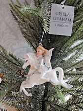 Gisela Graham Christmas Decorations Silver White Fairy Riding A Unicorn