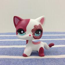 LPS #2291 Blue Eyes Cat Littlest Pet Shop Pink & White Sparkle Kitty Girls Toys