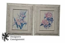2 White Plaster Pastel Floral Paintings Iris and Rose Carol Robinson Shabby