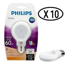 (10)Philips SlimStyle 10W/60W 2700K 800 Lumens A19 Dimmable LED Bulb Soft White