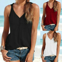 Womens Summer Beach Vest Top Sleeveless Shirt Blouse Casual Loose Tank Tops New