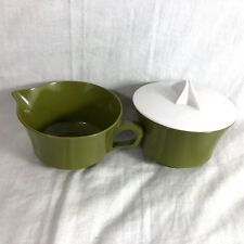Olive Green with White Lid Creamer Cream & Sugar Dish With Lid Melamine
