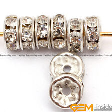 Rhinestone Crystal Rondelle Spacer Beads Silver Plated Jewelry Craft Findings