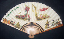 Vintage Cathay Pacific Airlines Paper & Wood Hand Fan Advertising